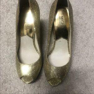 Michael kors gold glitter heel peep toe